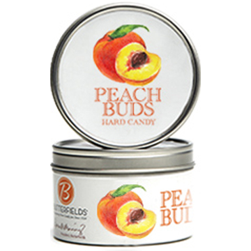 Peach Bud tins fresh peach nectar and sublime coconut - Peach Buds Hard Candy by Butterfields Candy