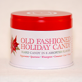 Holiday Candy tins combination of yuletide flavors; peppermint, spearmint, cinnamon, wintergreen, orange and lime